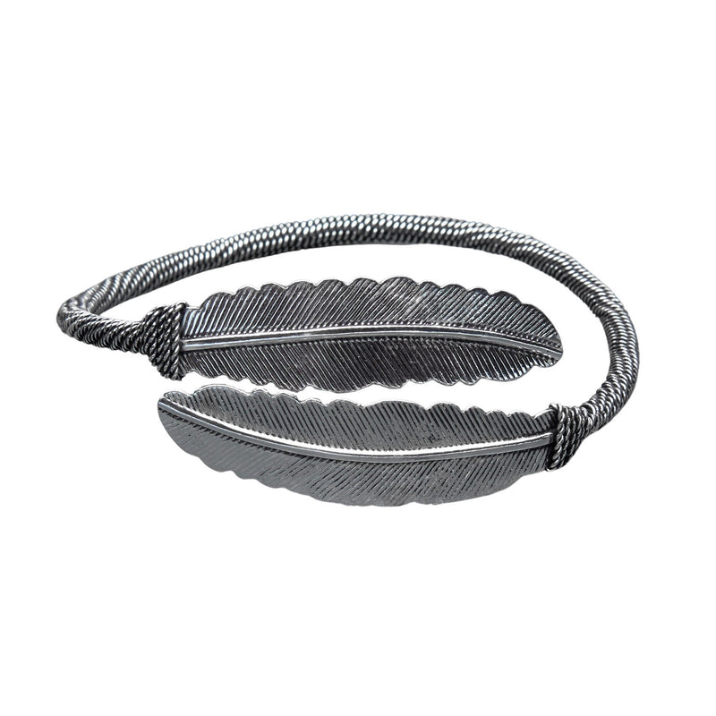 An artisan handmade double feather, silver torque bracelet designed by OMishka.