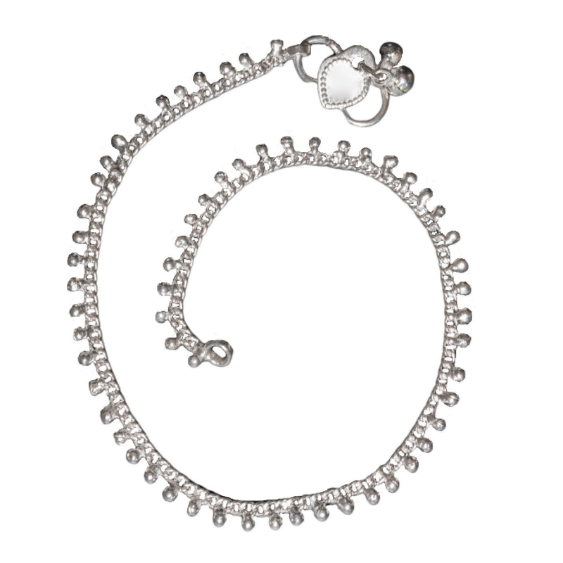 An artisan handmade, simple solid silver fine beaded anklet with tiny bells designed by OMishka.