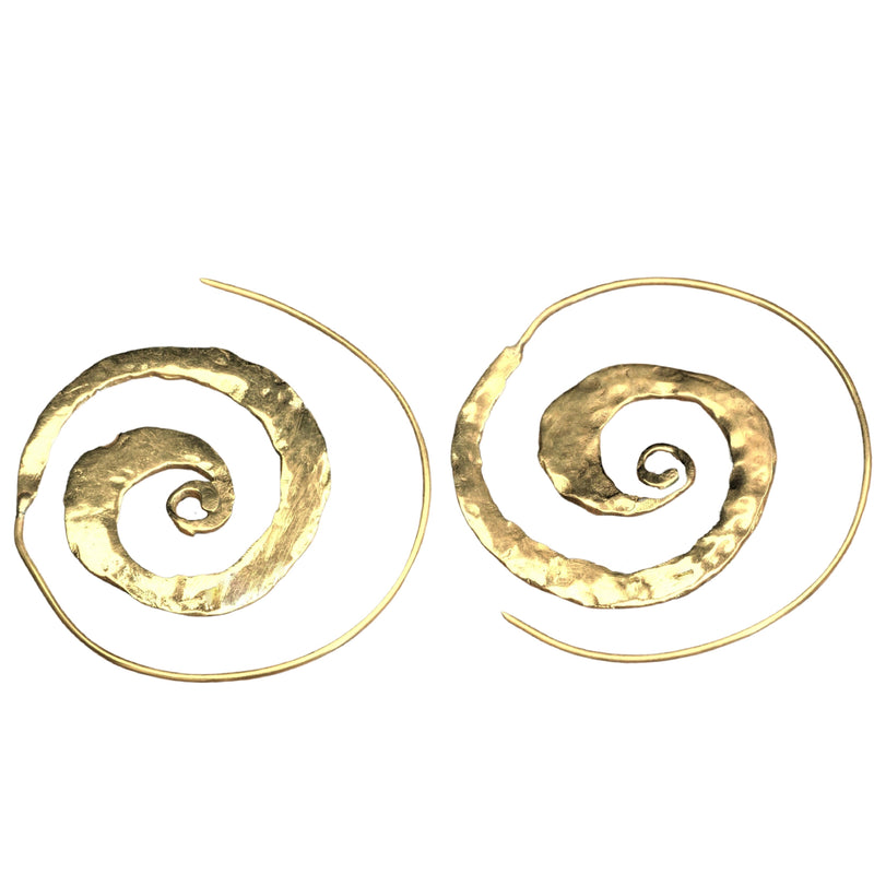 Artisan handmade pure brass, flat, hammered textured spiral hoop earrings designed by OMishka.