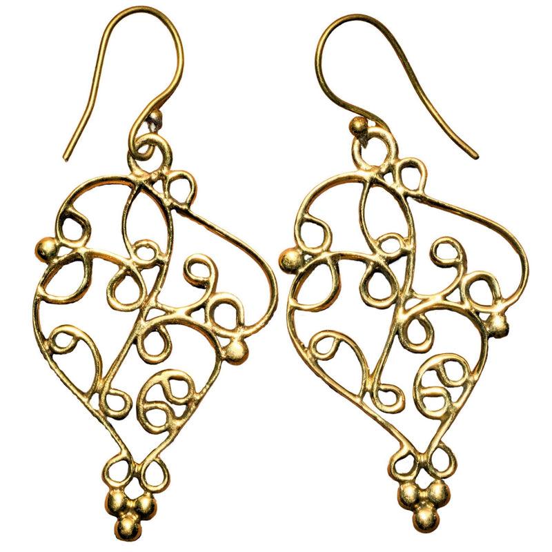 Artisan handmade, large, ornate pure brass, swirl and beaded drop earrings designed by OMishka.