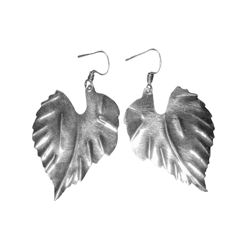 Artisan handmade solid silver, large single leaf drop earrings designed by OMishka.