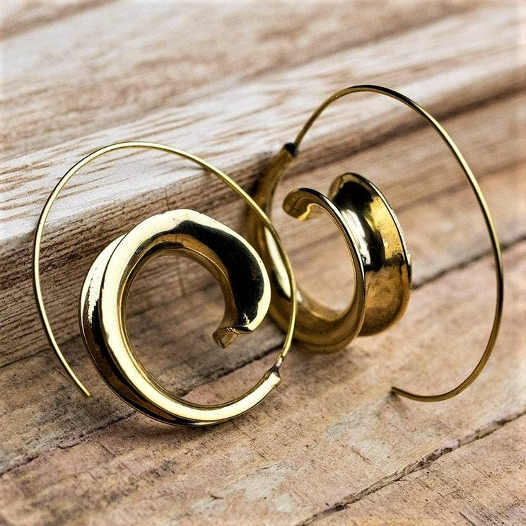 Artisan handmade pure brass, concave shaped spiral wave hoop earrings designed by OMishka.