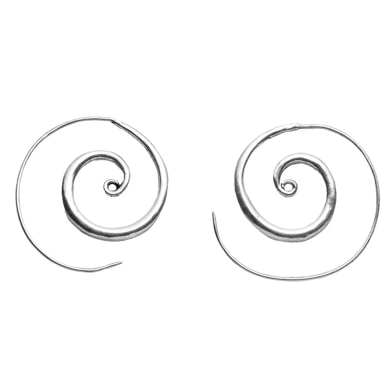 Artisan handmade, solid silver thickening shaped spiral hoop earrings designed by OMishka.