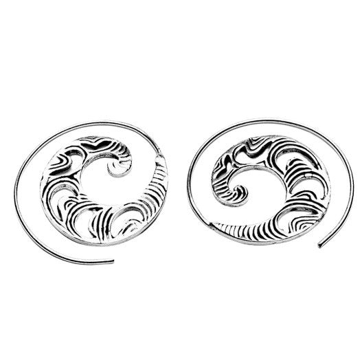 Artisan handmade solid silver, dainty, crescent and swirl patterned spiral hoop earrings designed by OMishka.