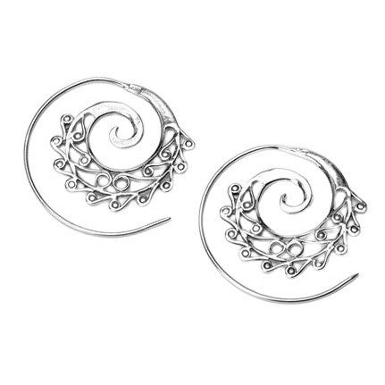 Artisan handmade solid silver, dainty swirl patterned, spiral threader hoop earrings designed by OMishka.