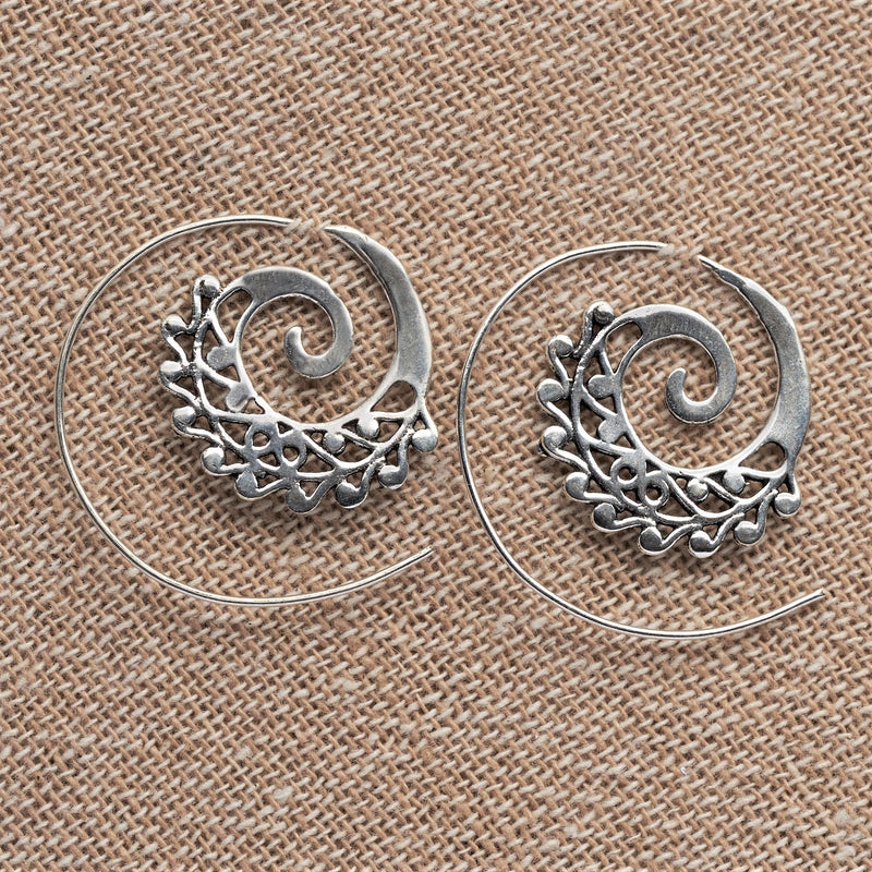 Artisan handmade solid silver, dainty swirl, spiral threader hoop earrings designed by OMishka.