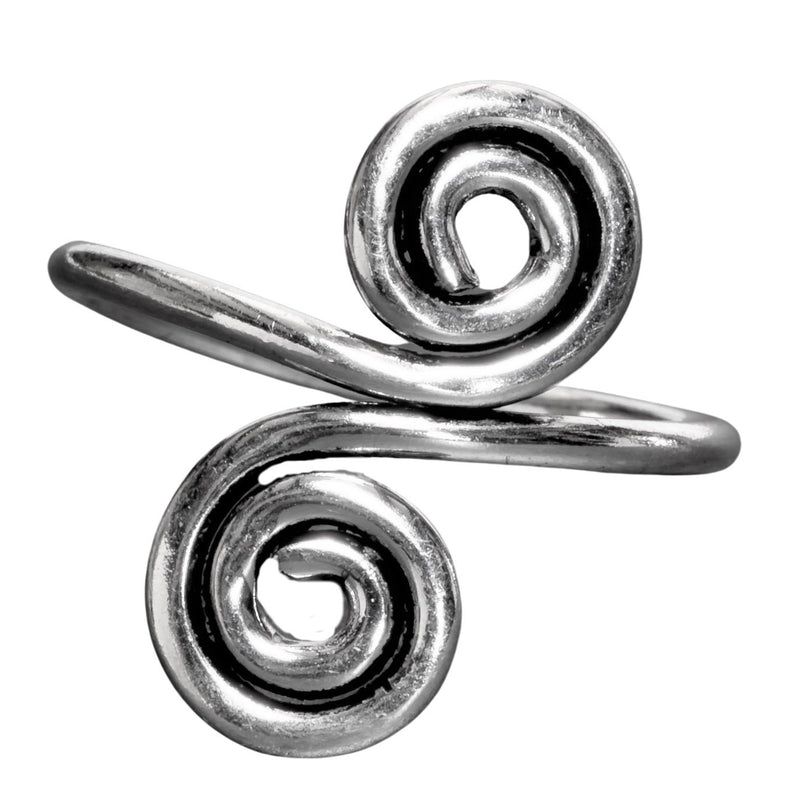 An artisan handmade, solid silver, double spiral wrap ring designed by OMishka.
