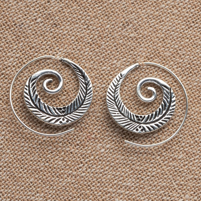 Artisan handmade solid silver, feather detailed, spiral hoop earrings designed by OMishka.