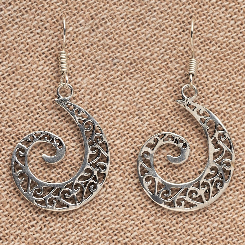 Artisan handmade solid silver, cut out ivy vine detailed, spiral drop earrings designed by OMishka.