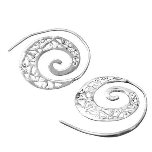 Artisan handmade solid silver, cut out ivy vine, spiral hoop earrings designed by OMishka.