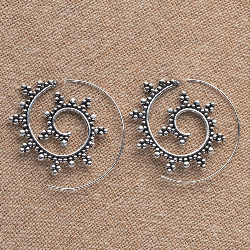 Artisan handmade solid silver, large, decorative dotted spiral hoop earrings designed by OMishka.