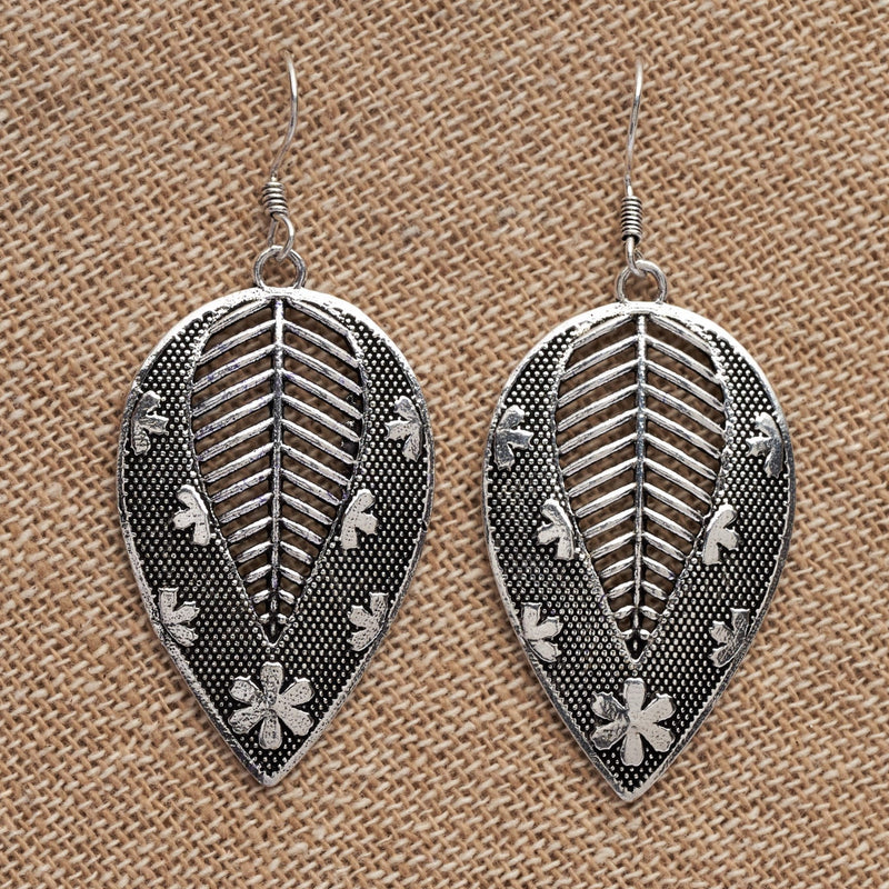 Artisan handmade solid silver, flower and dot patterned, large leaf drop earrings designed by OMishka.