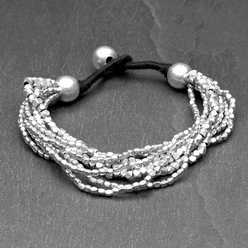 Artisan handmade silver, mixed tiny cube and octagonal beaded, multi strand bracelet designed by OMishka.