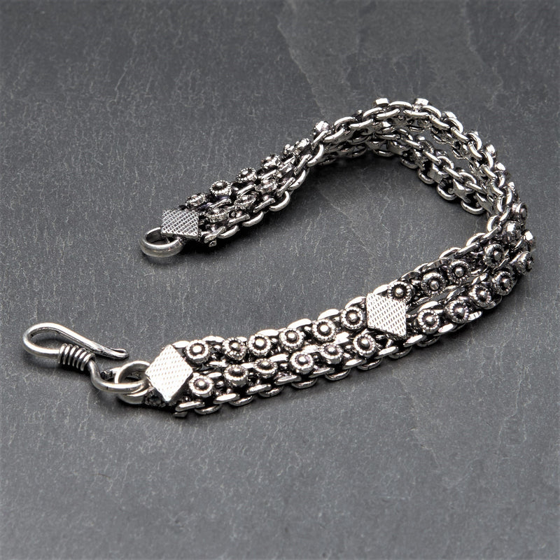 Artisan handmade silver toned brass, diamond patterned, Banjara chainmail bracelet designed by OMishka.