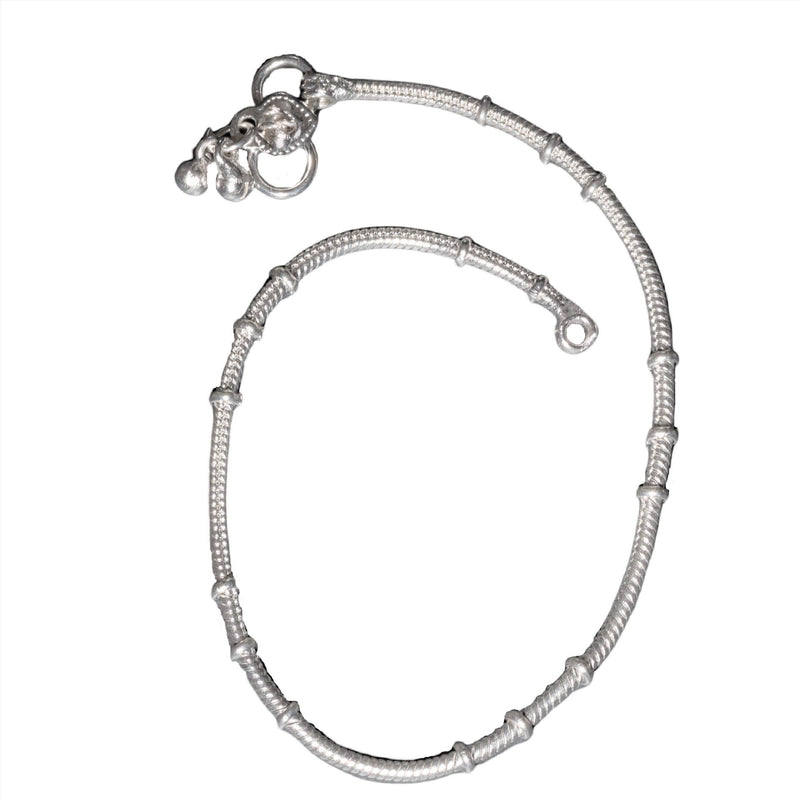 An artisan handmade, thin solid silver snake chain anklet designed by OMishka.
