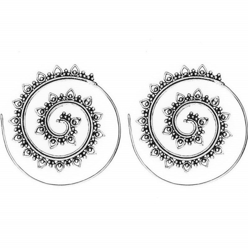 Artisan handmade solid silver, tribal dotwork decorated, spiral hoop earrings designed by OMishka.