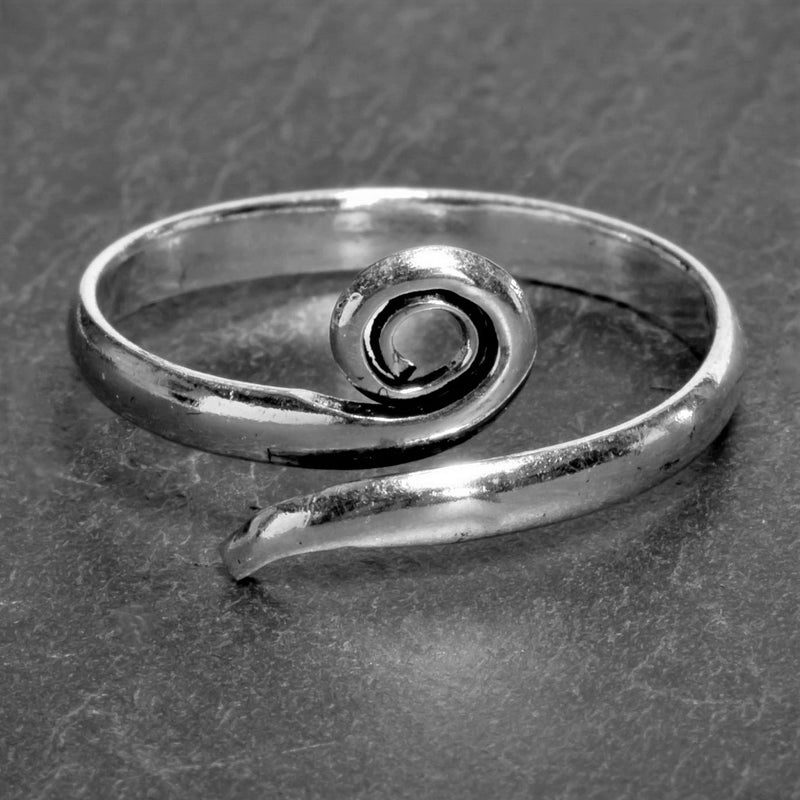 A simple, artisan handmade solid silver, single spiral wrap ring designed by OMishka.
