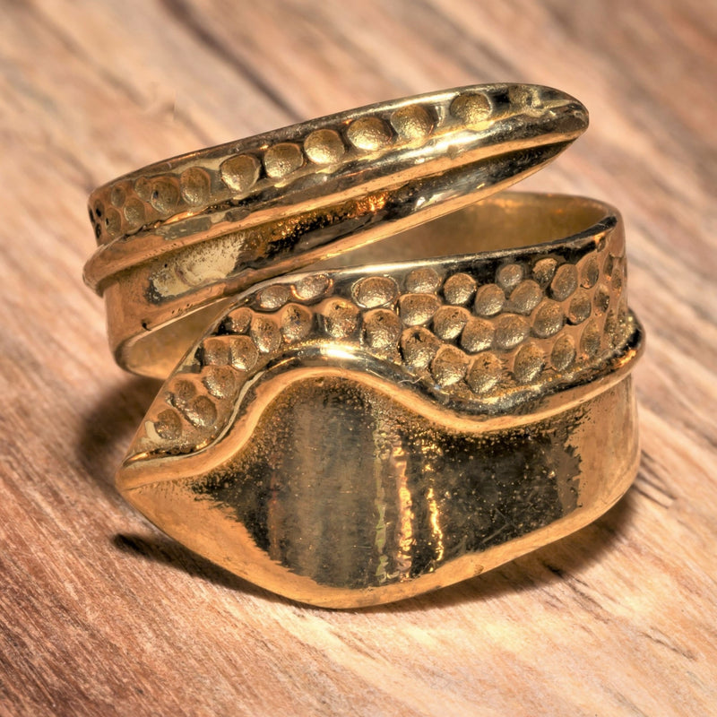 Smooth Pure Brass Swirl Wrap Ring
