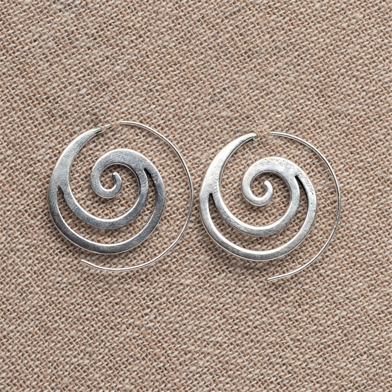 Pair Amazing Solid Brass Spiral Handcrafted Filigree Earrings