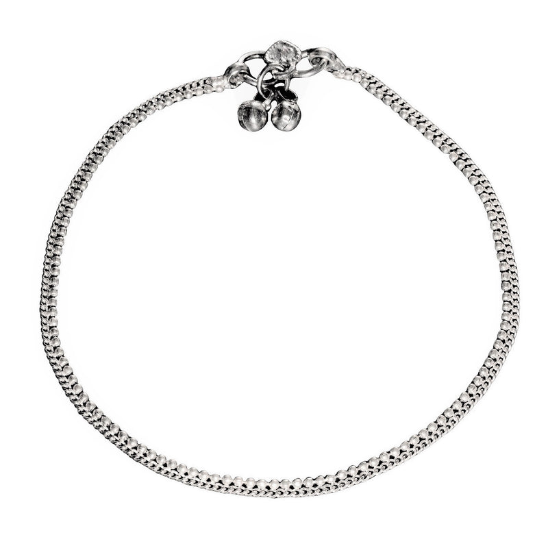 A charming, artisan handmade, thin beaded solid silver anklet with tiny bells designed by OMishka.