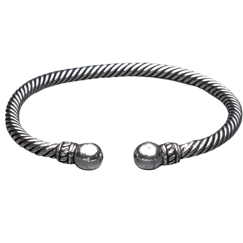 An artisan handmade, twisted silver rope bracelet designed by OMishka.
