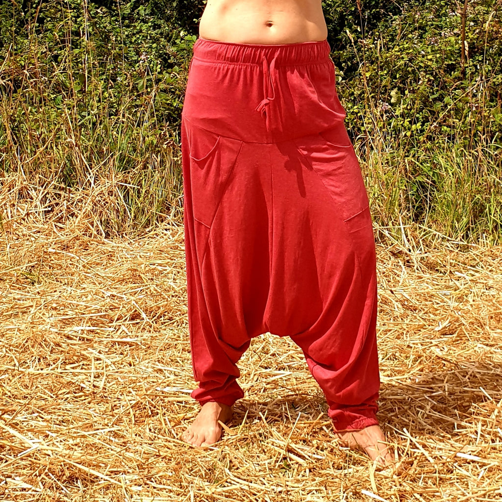 OMishka eco-friendly organic bamboo bright red yoga pants adjustable jumpsuit