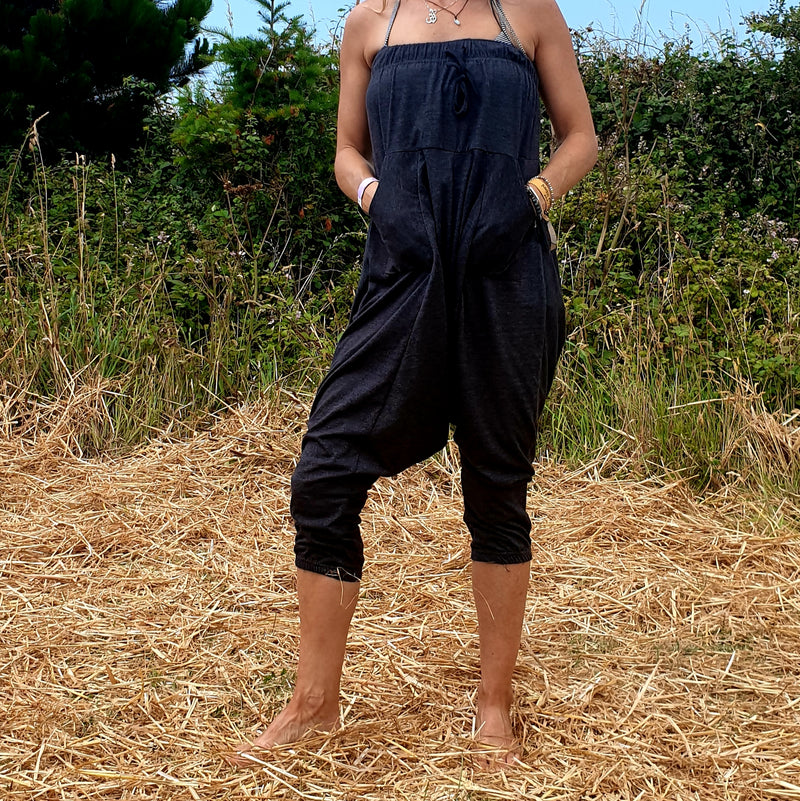 Omishka eco-friendly bamboo dark grey yoga trousers and adjustable jumpsuit