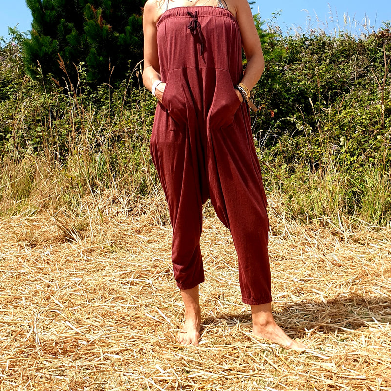OMishka eco-friendly organic bamboo dark red yoga trousers adjustable jumpsuit