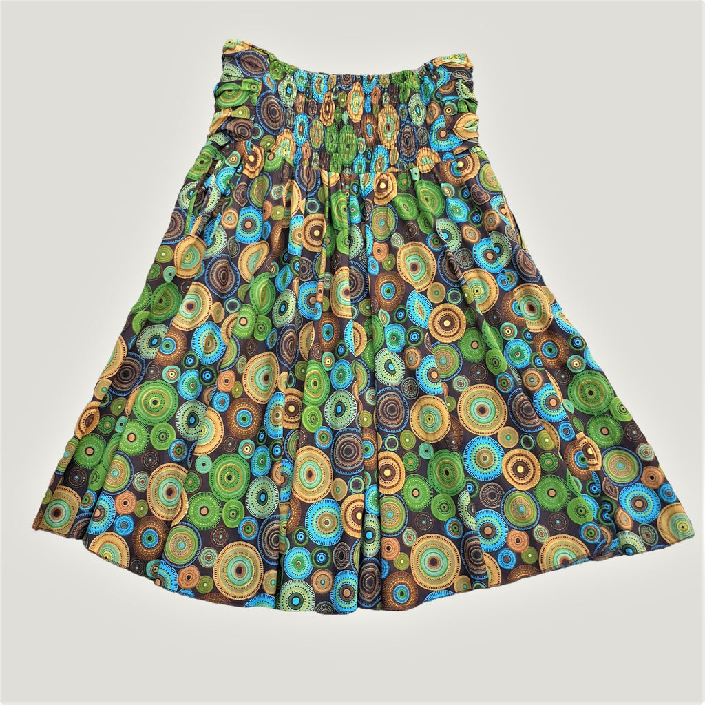 Green Retro Spiral - Skirt & Dress