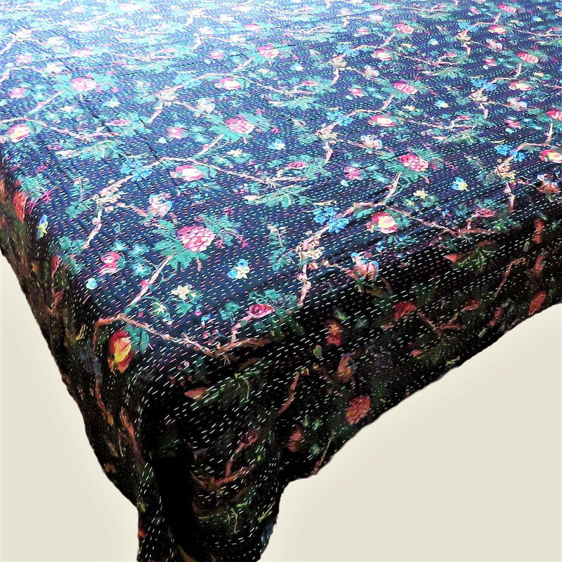 Black Floral Kantha Bed Cover & Throw - 13