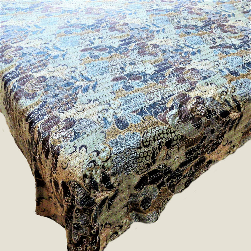 Brown Floral Kantha Bed Cover & Throw - 27