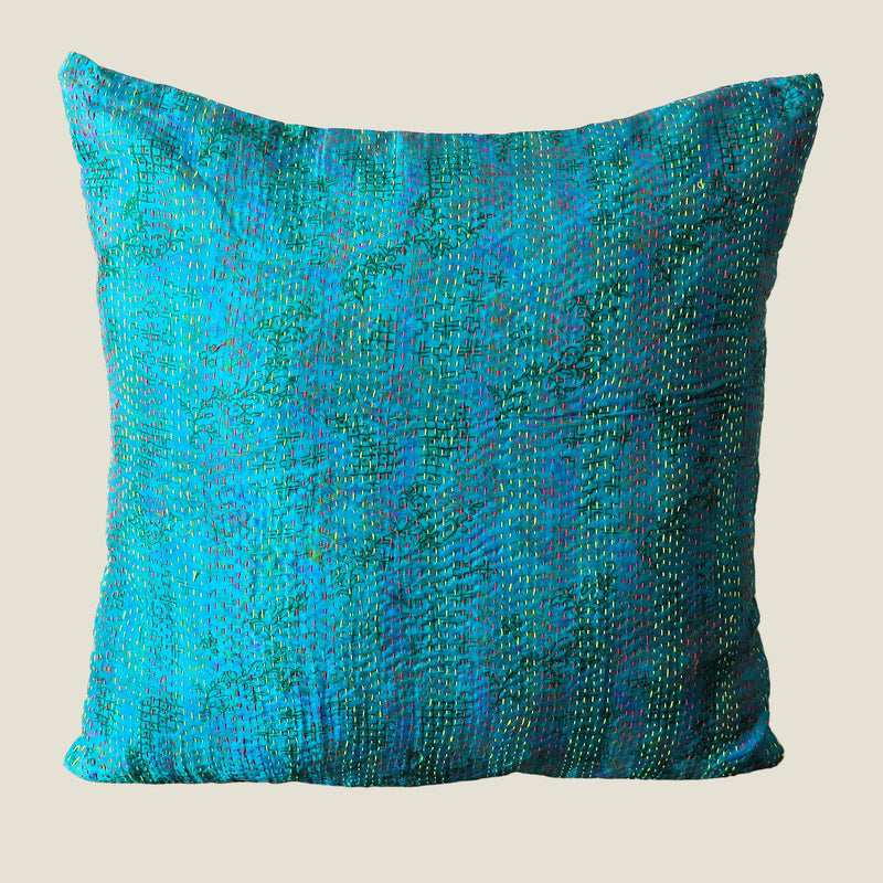 Blue Vintage Silk Kantha Cushion Cover - 14