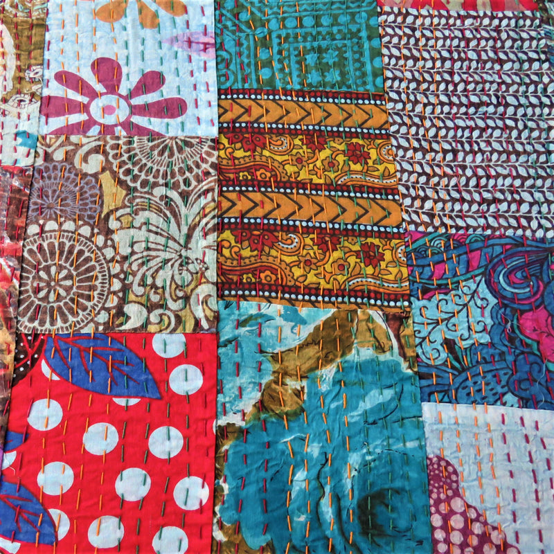 Recycled Patchwork Kantha Bed Cover & Throw - 10