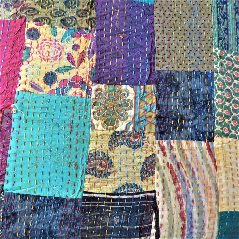 Recycled Patchwork Kantha Bed Cover & Throw - 06