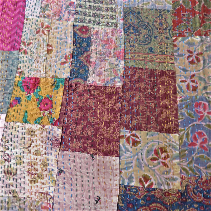 Recycled Patchwork Kantha Bed Cover & Throw - 02