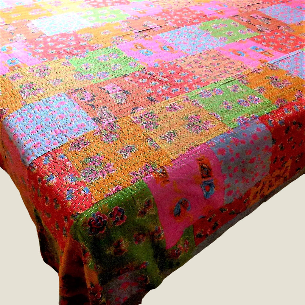 Recycled Patchwork Kantha Bed Cover & Throw - 34