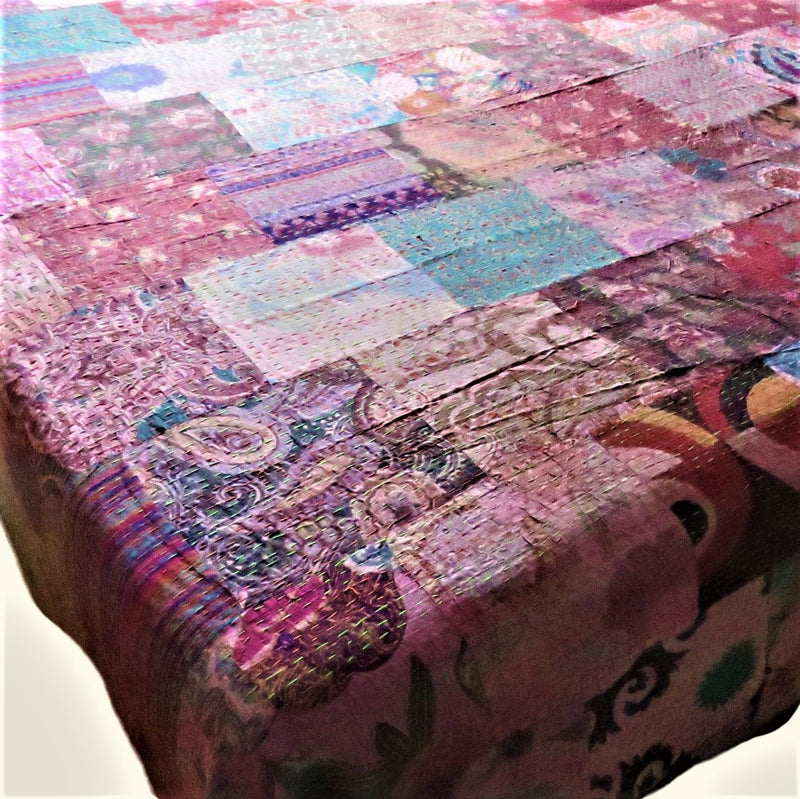 Recycled Patchwork Kantha Bed Cover & Throw - 12