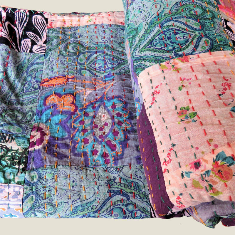 Recycled Patchwork Kantha Bed Cover & Throw - 04