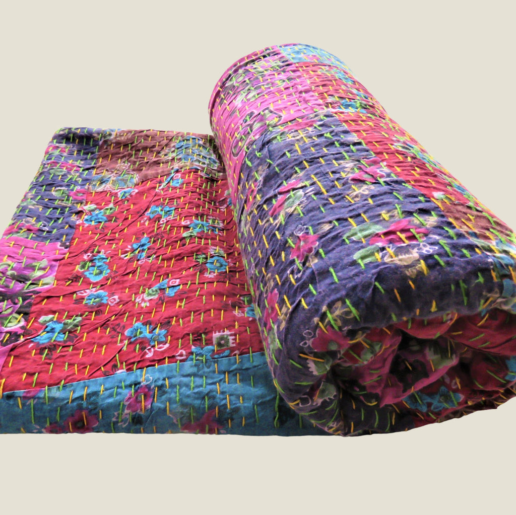Recycled Patchwork Kantha Bed Cover & Throw - 32