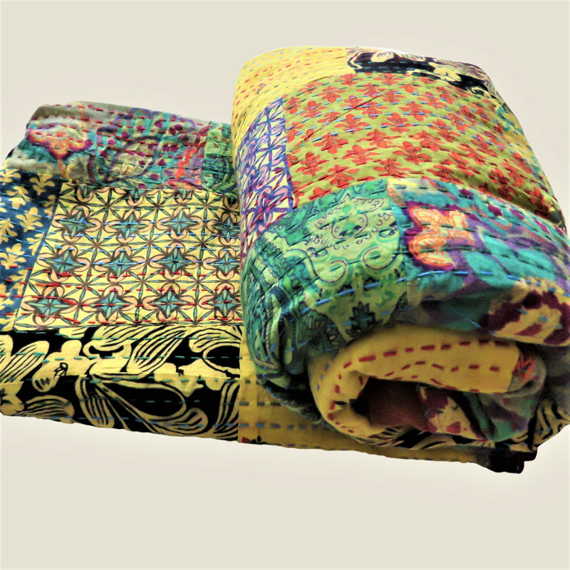 Recycled Patchwork Kantha Bed Cover & Throw - 03