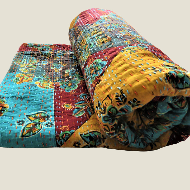Floral Patchwork Kantha Bed Cover & Throw - 17