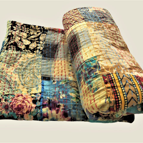 Recycled Patchwork Kantha Cushion Cover - 73