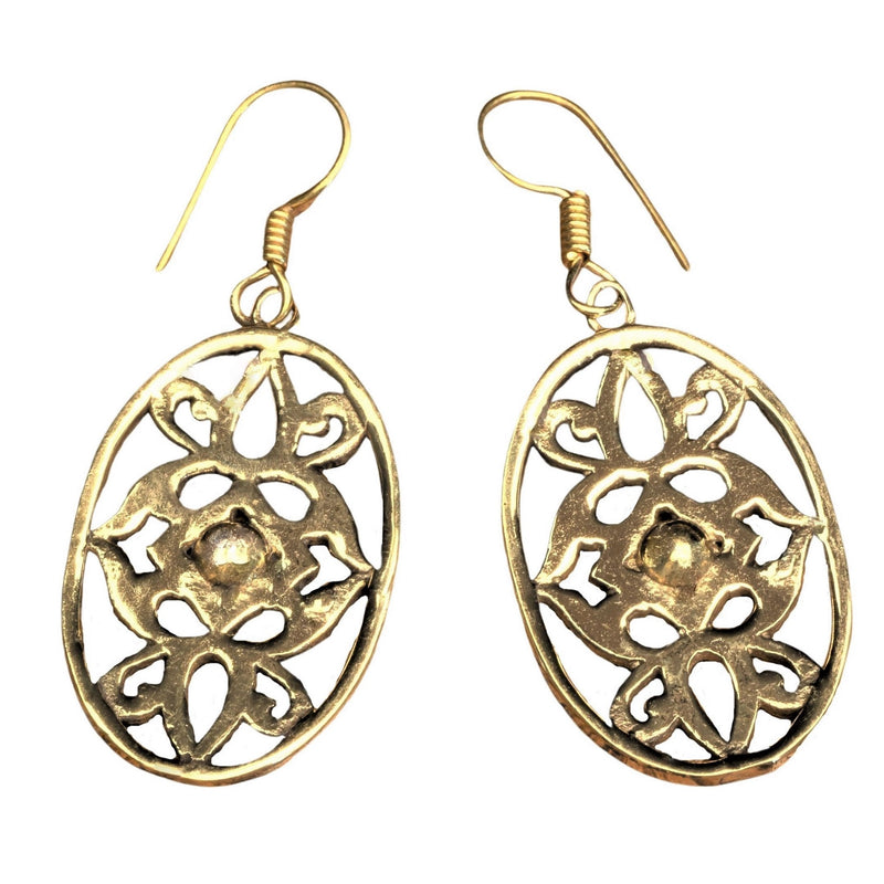 Handmade pure brass. art nouveaux floral detailed, dangle earrings designed by OMishka.