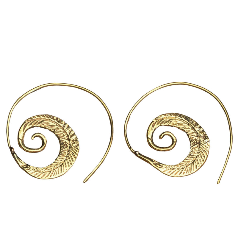 Handmade pure brass, feather spiral hoop earrings designed by OMishka.