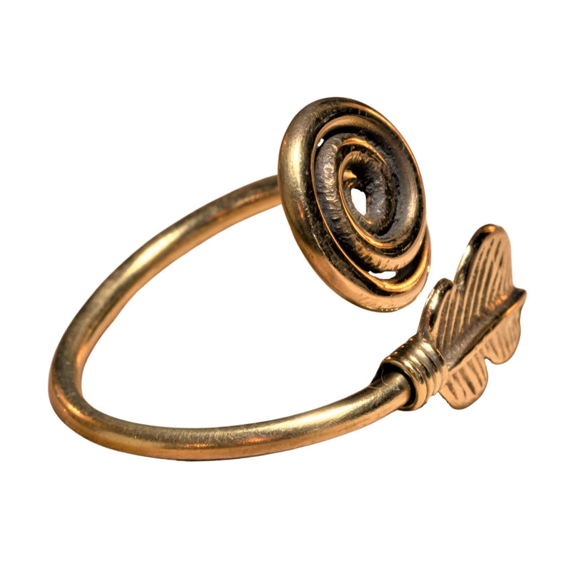 Pure Brass Feather Spiral Wrap Ring