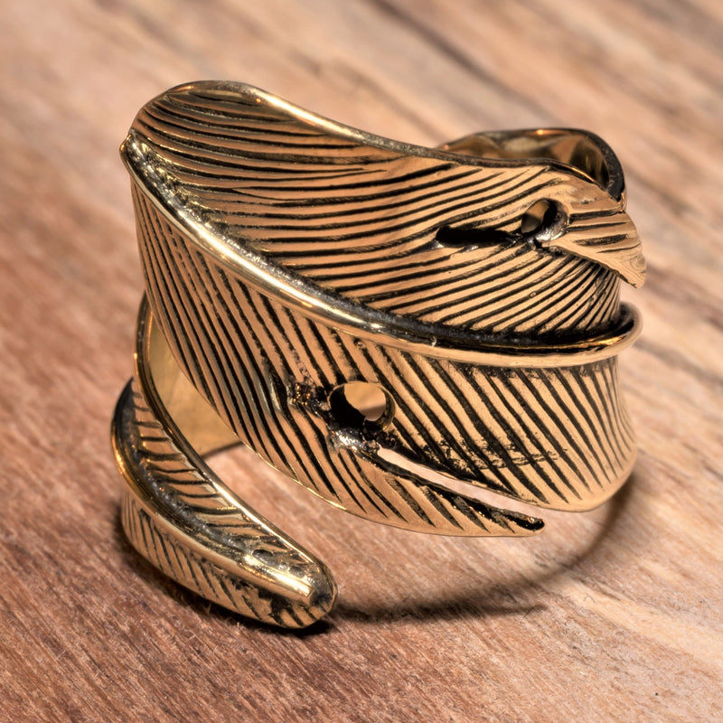 Chunky Pure Brass Feather Wrap Ring