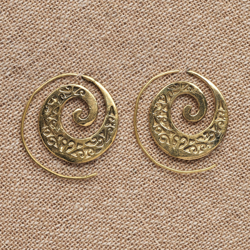 Artisan handmade pure brass, ivy vine spiral hoop earrings designed by OMishka.