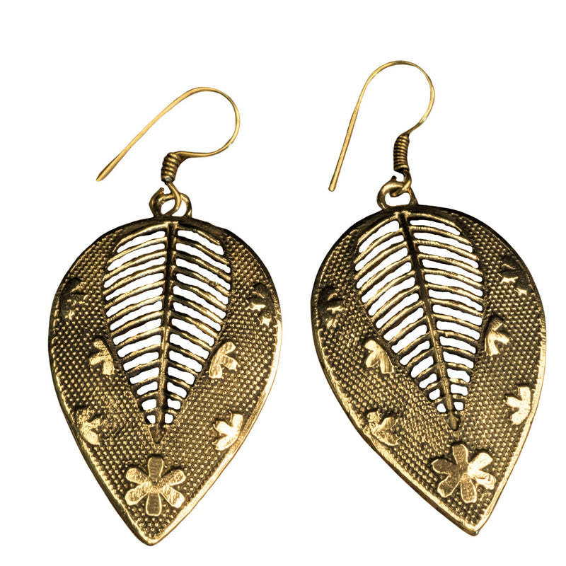 Handmade pure brass, flower and dot patterned, large leaf drop earrings designed by OMishka.