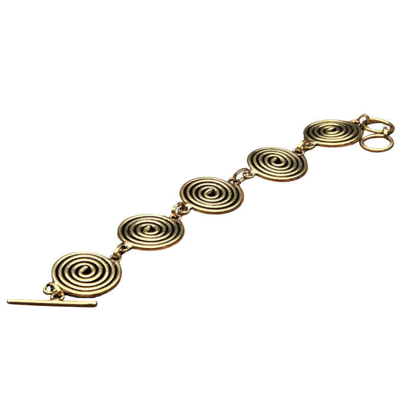 Handmade pure brass, five spiral detail, smooth textured bracelet designed by OMishka.