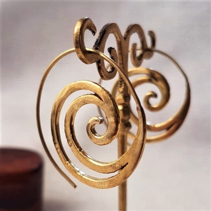 Handmade pure brass, cut out crested wave spiral hoop threader earrings designed by OMishka.